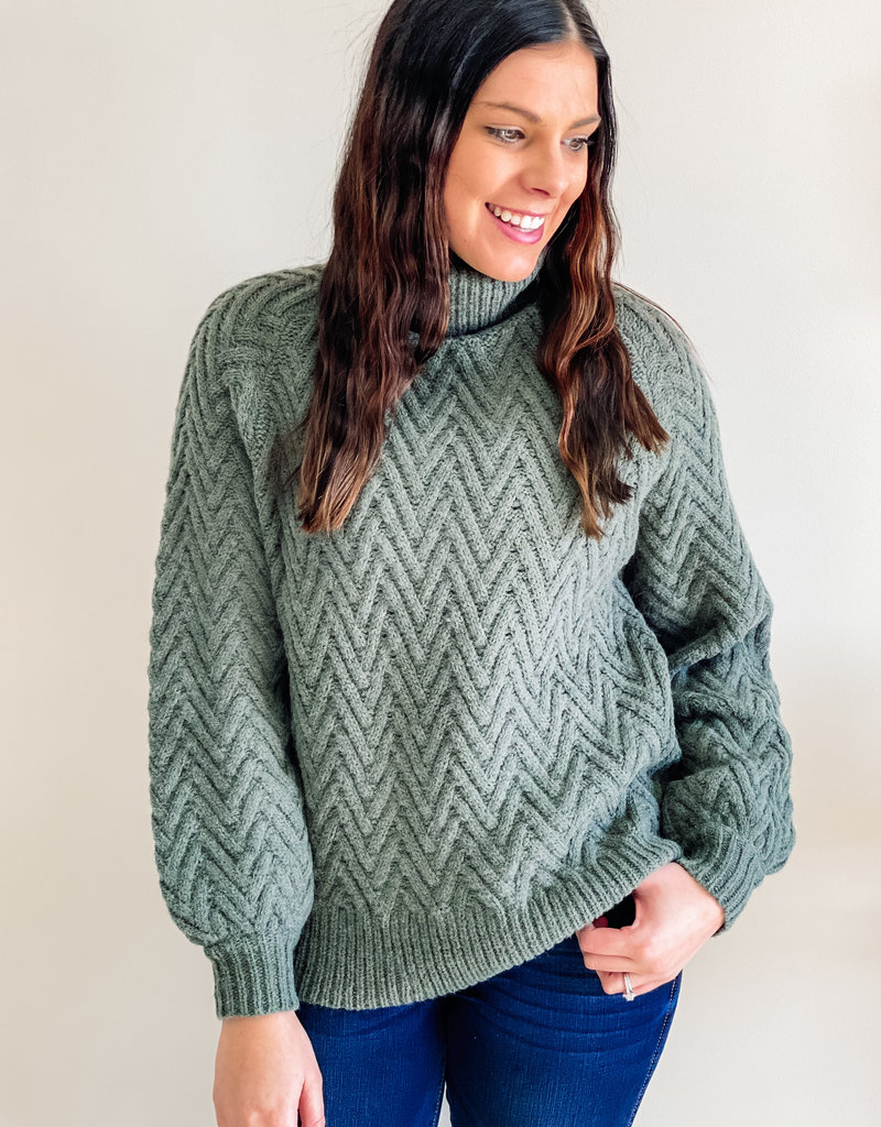 509 Broadway Chevron Textured Sweater