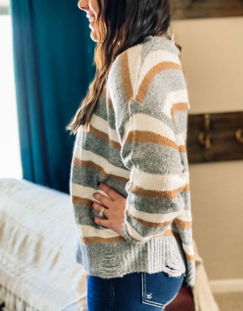 509 Broadway Brushed Stripe Distressed Detail  Sweater