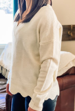 509 Broadway Scalloped Edge V-Neck Sweater Top