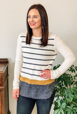 509 Broadway Stripe Sweater Top With Color Block