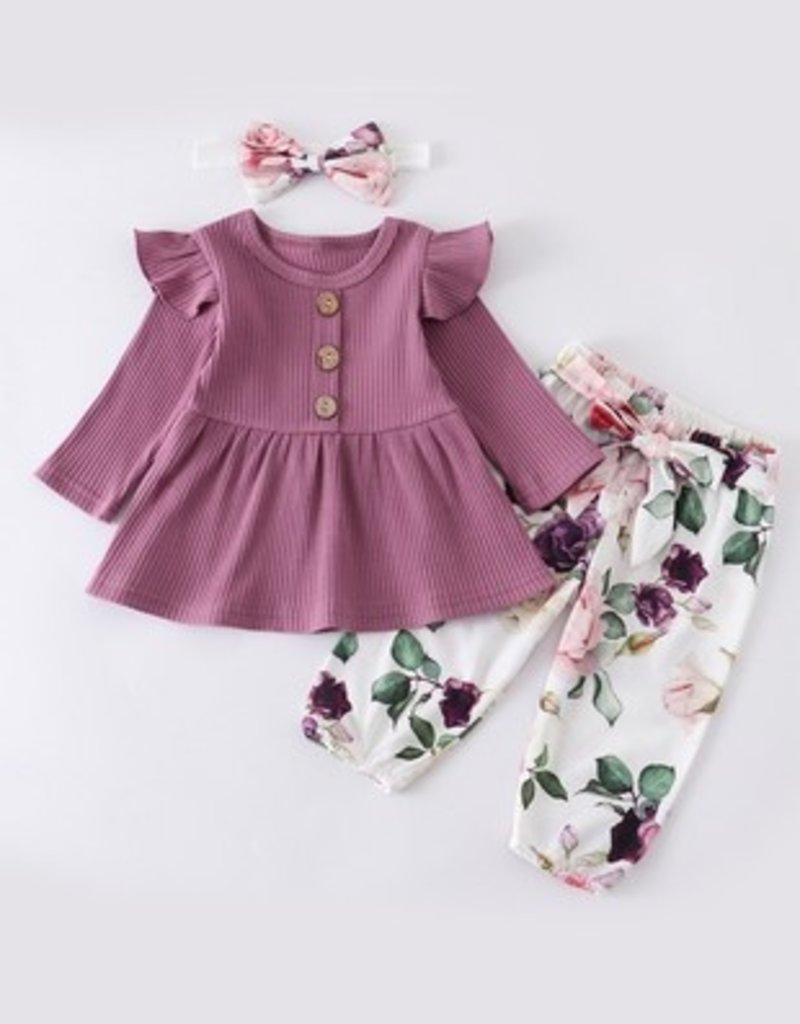 509 Broadway Mauve Floral Baby Set