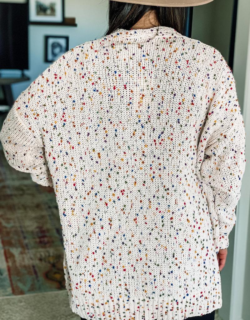 509 Broadway Confetti Knit Open Print Cardigan