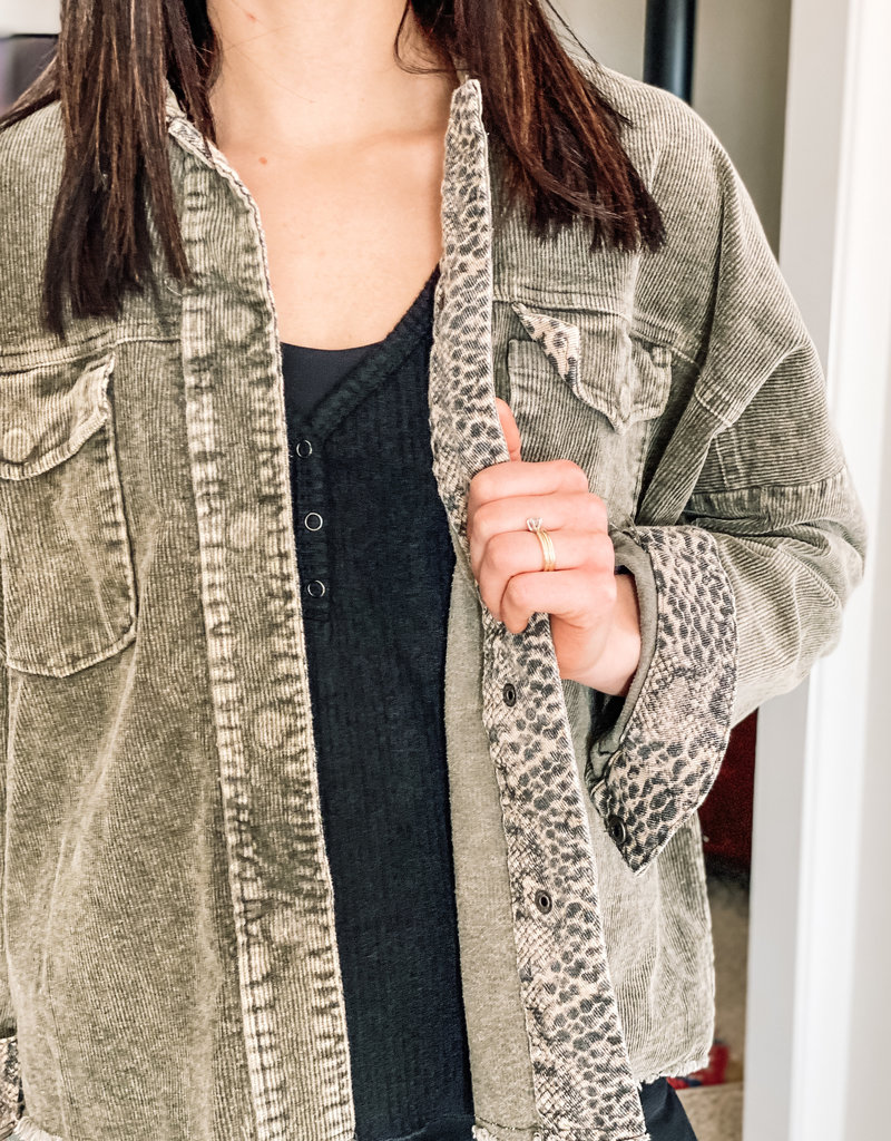 509 Broadway Washed Cropped Animal Contrast Jacket