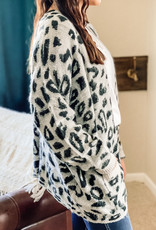 509 Broadway Animal print Loose Cardigan