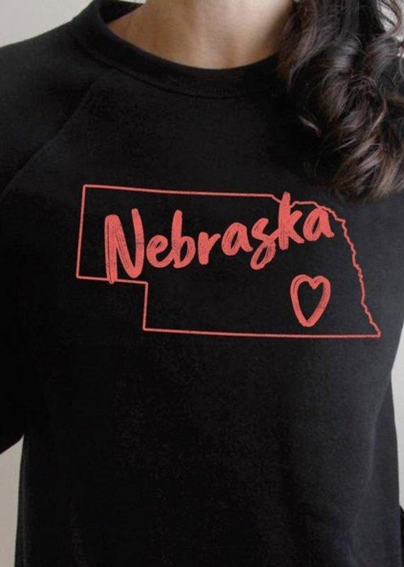Nebraska Outline With Heart Pullover