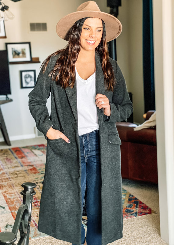 509 Broadway Solid Button Down Long Coat