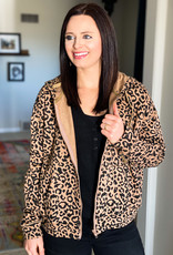 509 Broadway Leopard Print Hooded Zip Up Jacket