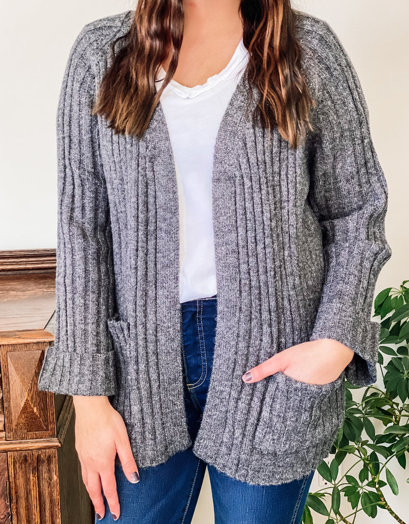 509 Broadway Rib Knit Sweater Cardigan