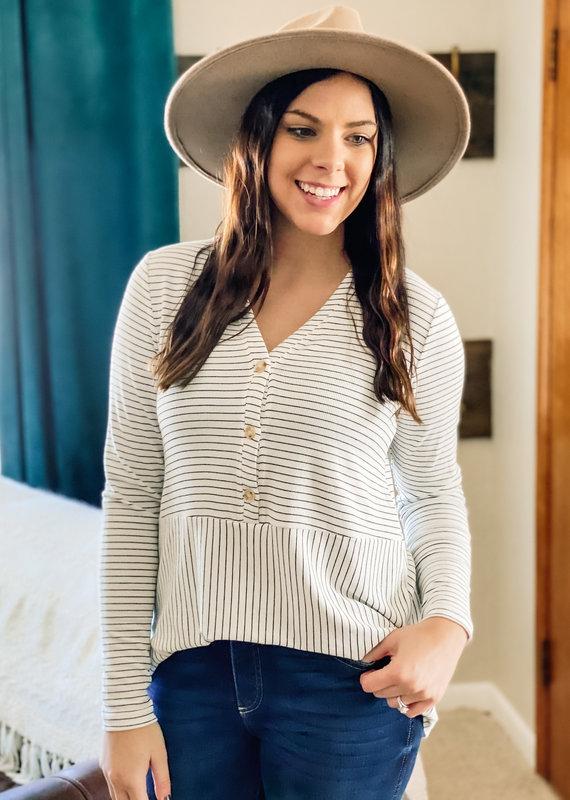 509 Broadway Striped Knit Button Shirt
