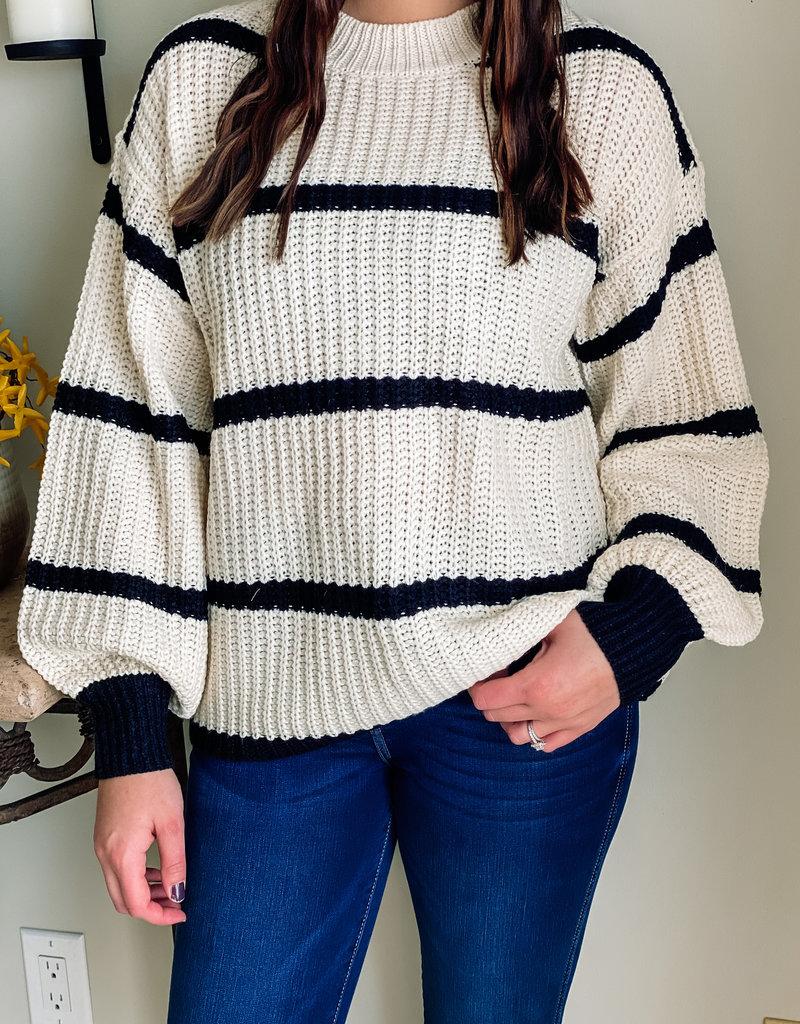 509 Broadway Stripe Round Neck Sweater