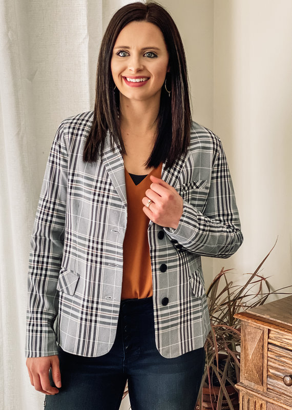 509 Broadway Plaid Striped Blazer
