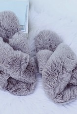 509 Broadway Fuzzy Cross Band Slippers