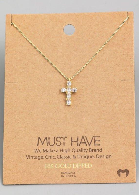 509 Broadway Rhinestone Cross Pendant Necklace
