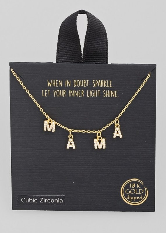 509 Broadway Pave Mama Print Charm Necklace