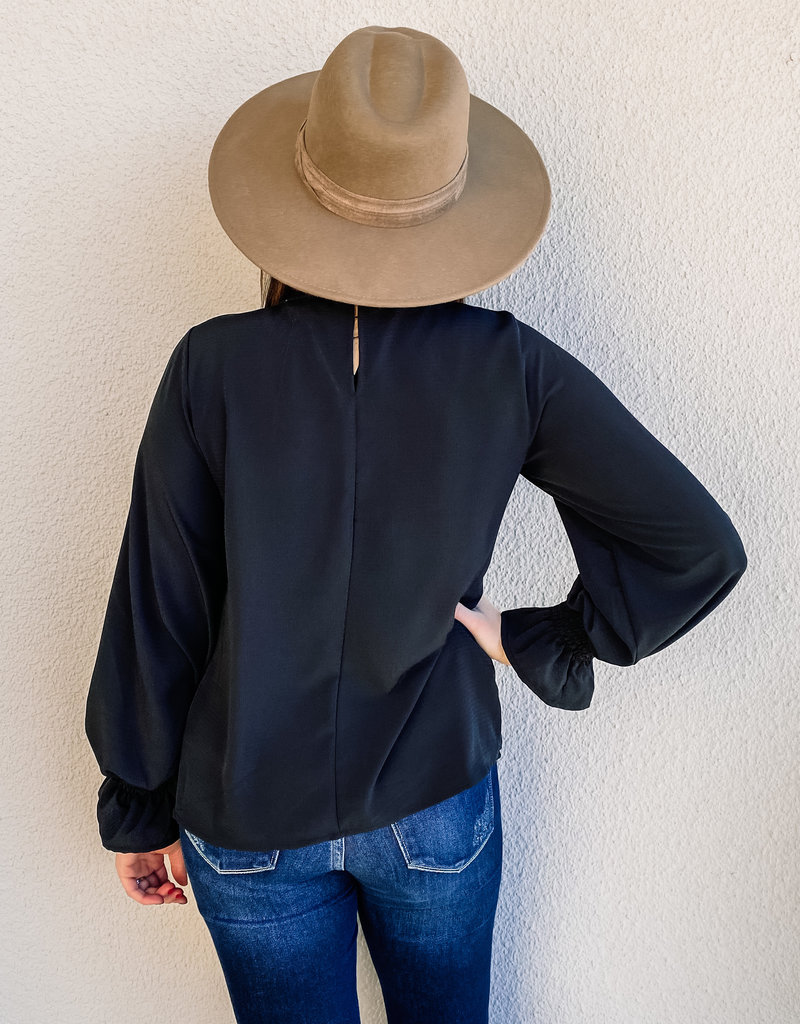 509 Broadway Smocked Long Bubble Sleeve Woven Top