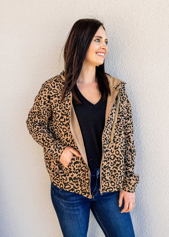 509 Broadway Leopard Print Hooded Zip Up Jacket