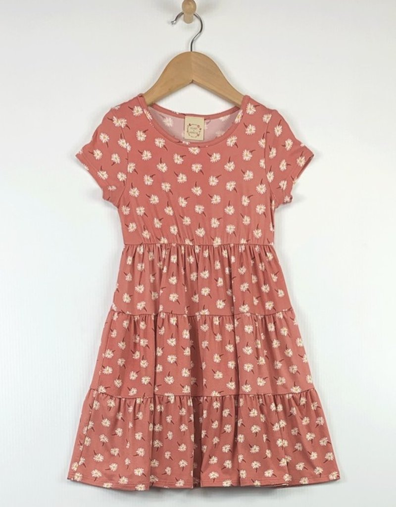 509 Broadway Girls Short Sleeve Tiered Dress