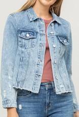 509 Broadway Acid Wash Distressed Denim Jacket