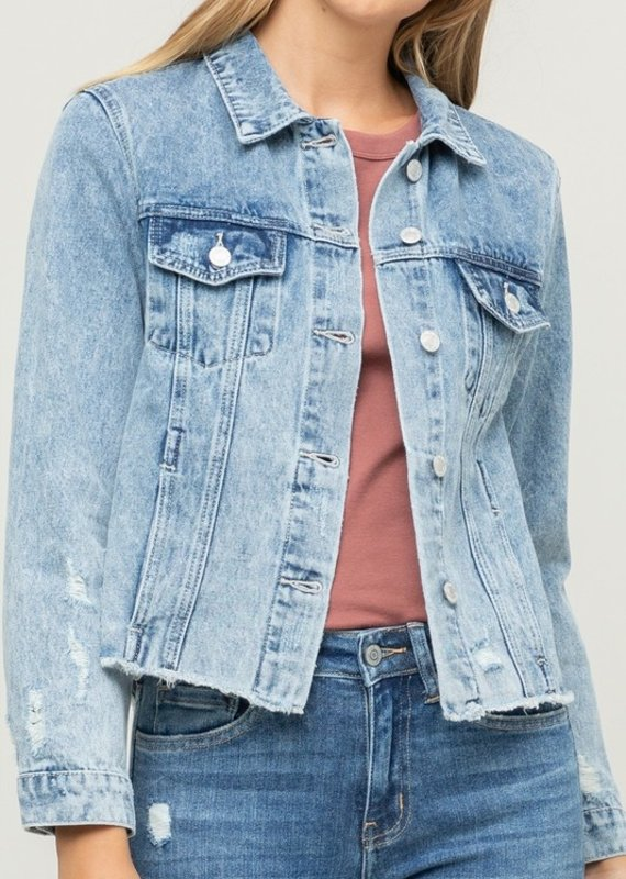 509 Broadway Acid Wash Distressed Denim Jacket
