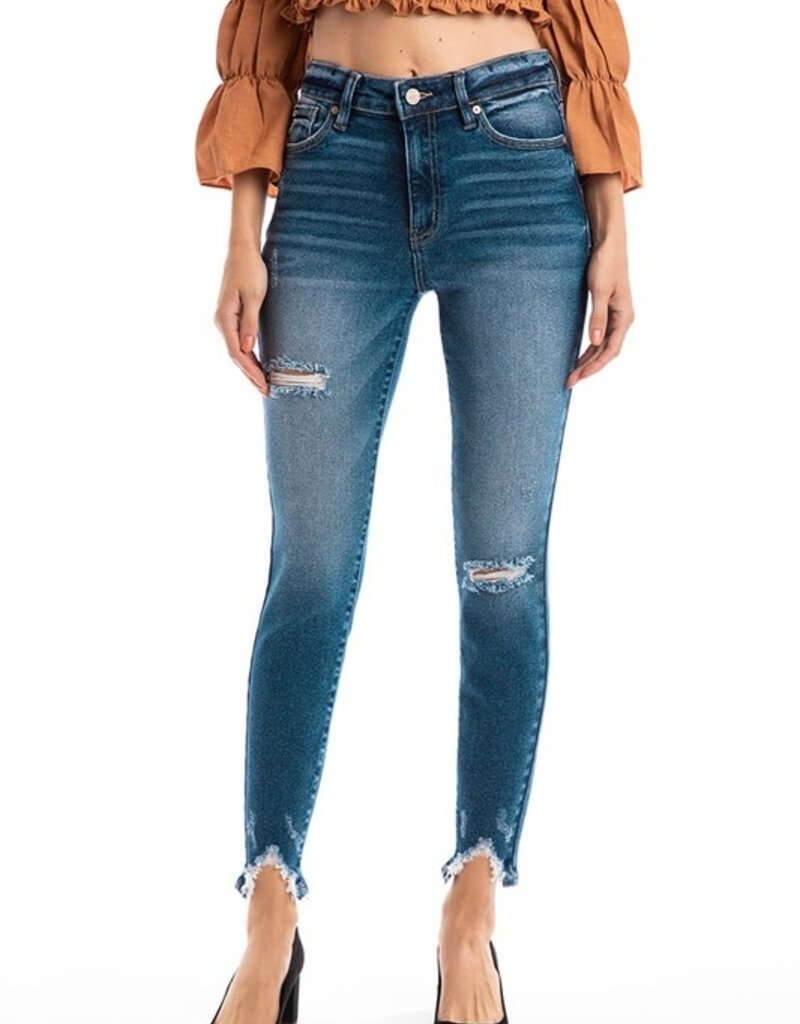 509 Broadway |Willow| High Rise Hem Detail Ankle  Skinny