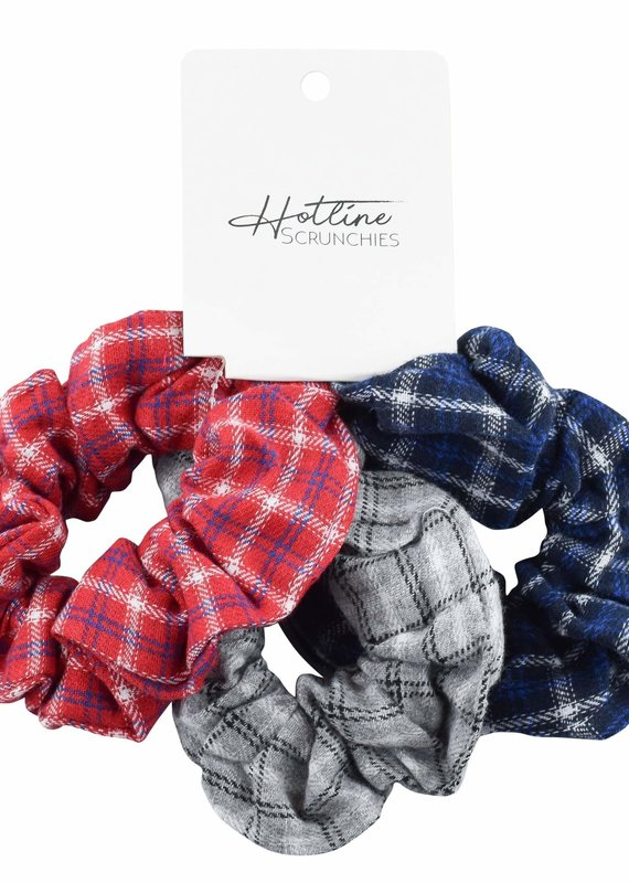 Hotline Hair Ties Varsity Flannel Scrunchie Set