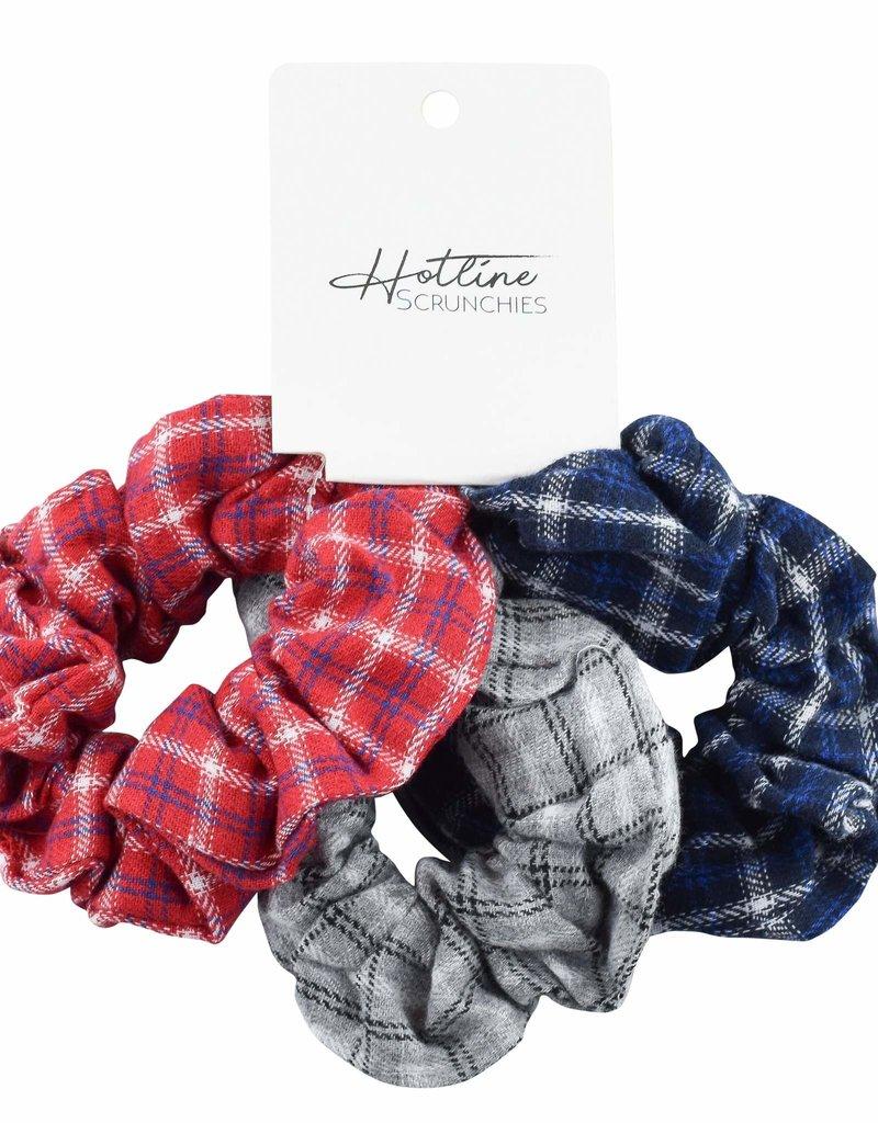 Hotline Hair Ties Varsity Flannel Scrunchie Set