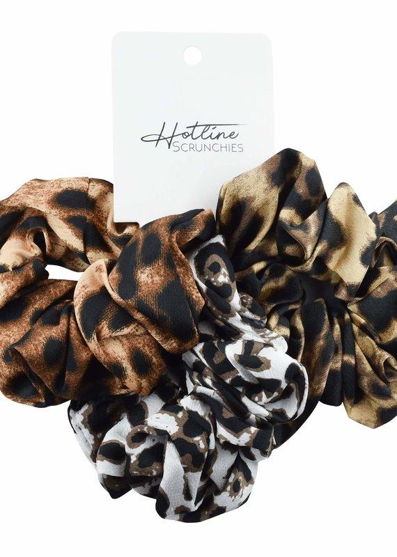 Hotline Hair Ties Leopard Scrunchie Set