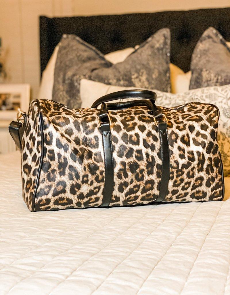 509 Broadway The Getaway Leopard Duffle Bag