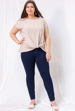 509 Broadway Plus Solid Woven Knot Top