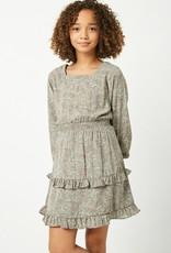 509 Broadway Girls Floral Printed Long Sleeve Ruffle Mini Dress