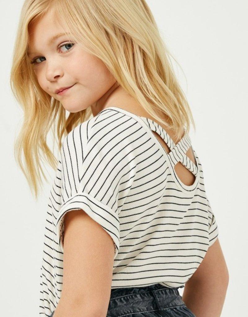 509 Broadway Girls Ribbed Stripe Crossback Knit Tee