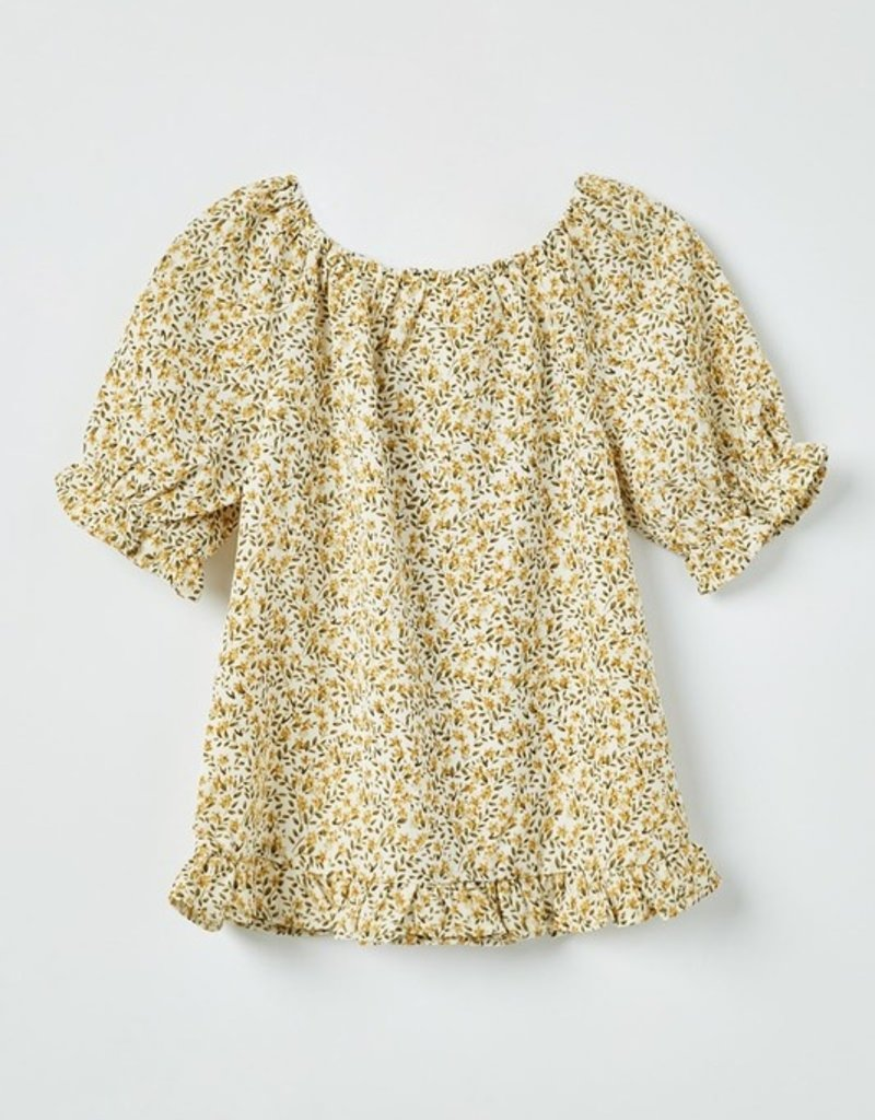 509 Broadway Girls Ruffled Hem Floral Top