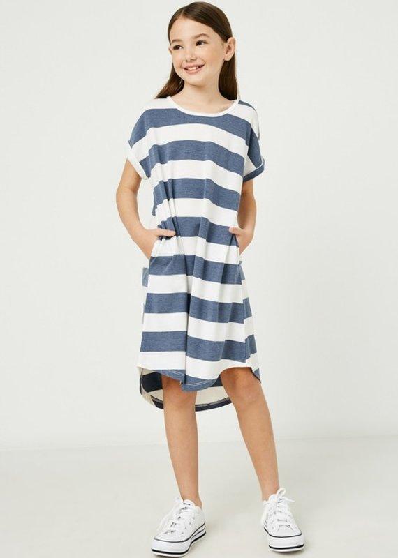 509 Broadway Girls Scoop Neck Stripe Dress