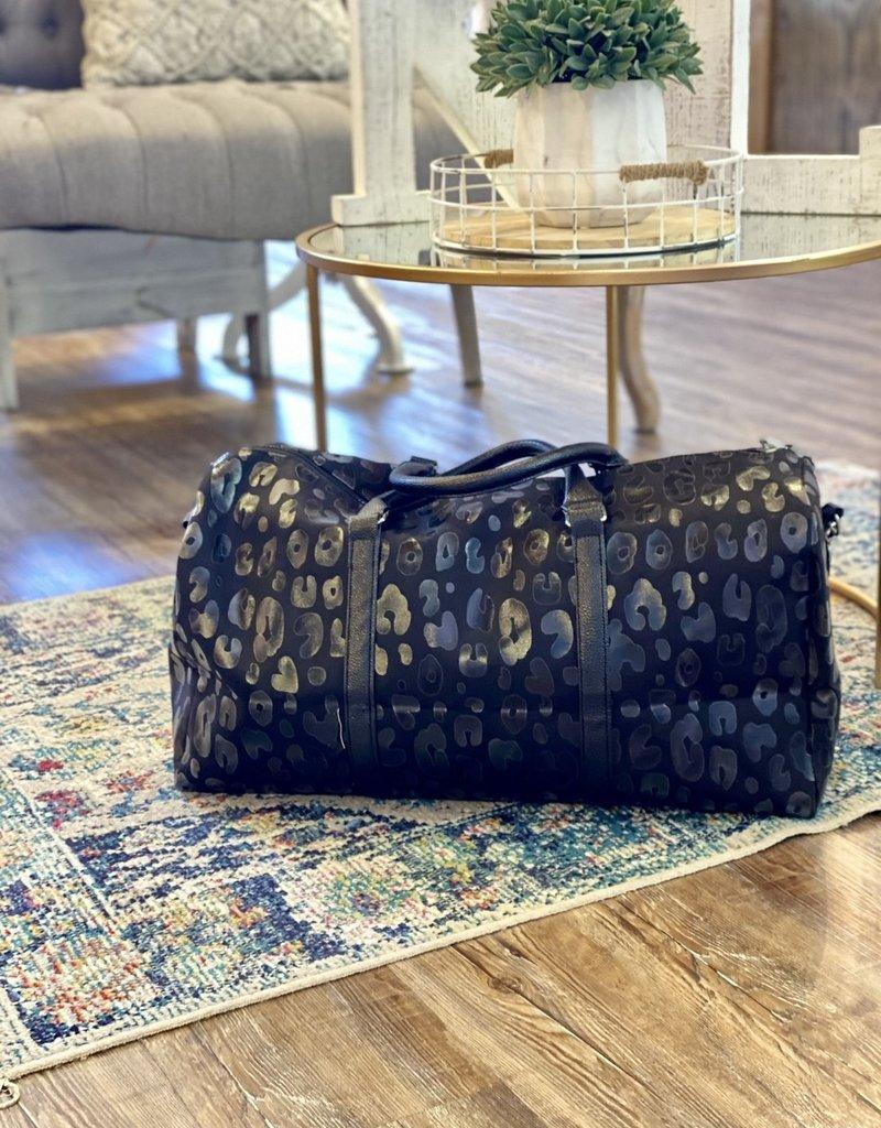 509 Broadway Black Leopard Duffle Bag