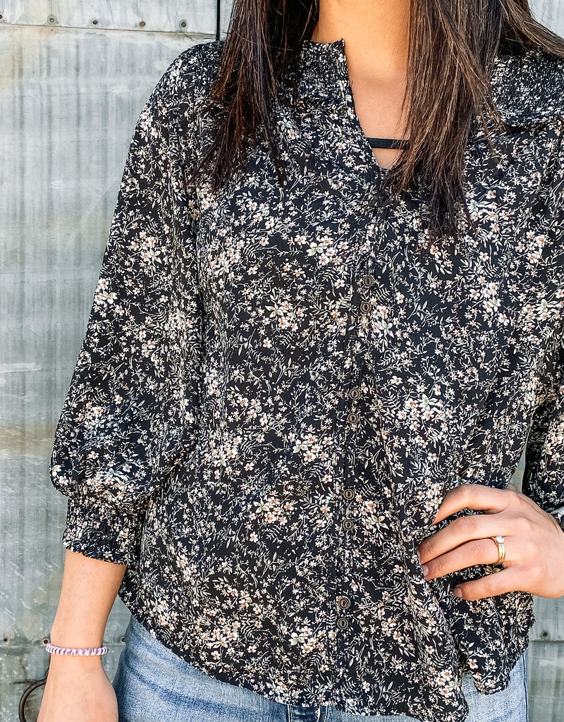 509 Broadway Floral Smocked Button Down Shirt