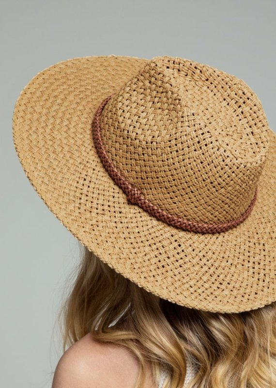 509 Broadway Wider Brim Panama Bead Trim Hat