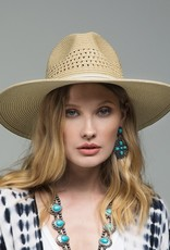 509 Broadway Leather Trim Woven Hat