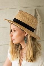 509 Broadway Straw Panama Hat Black Ribbon Detail