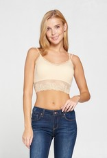 509 Broadway Solid Padded Lace Trim Bralette