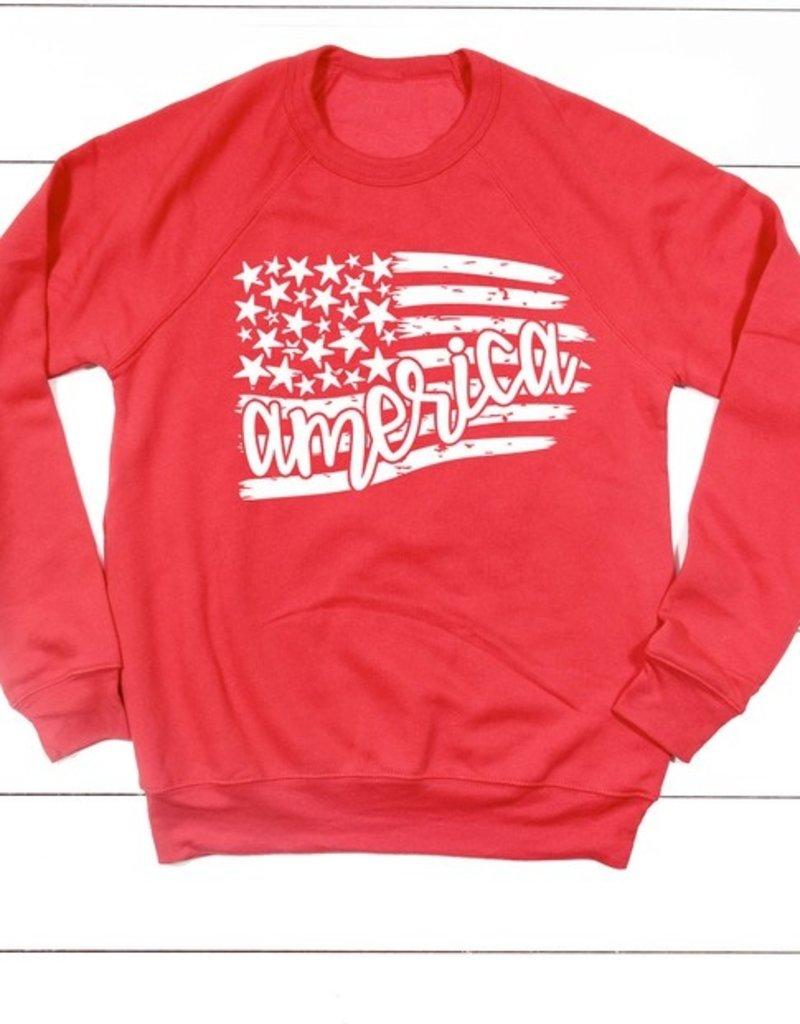 509 Broadway America Flag and Stars Sweatshirt
