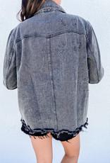 509 Broadway Acid Wash Button Down Distressed Jacket