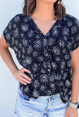 509 Broadway V-Neck Printed Woven Top