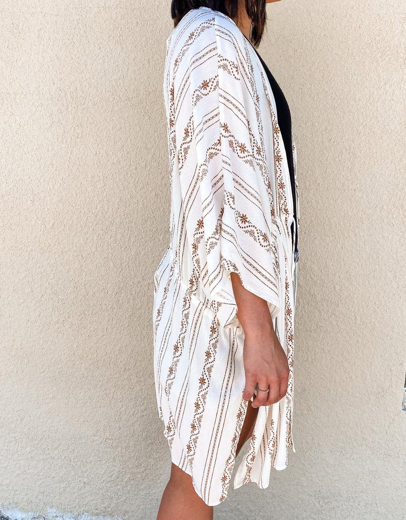 509 Broadway Floral Print Woven Kimono