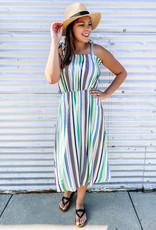 509 Broadway Multi Stripe Midi Dress