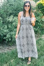 509 Broadway Floral Geometric Printed Maxi Dress
