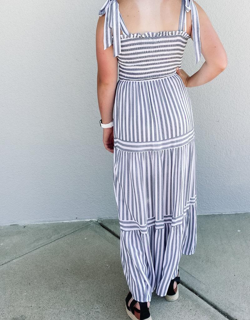509 Broadway Woven Stripe smock Maxi Dress