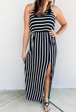 509 Broadway Side Slit Racer Back Stripe Maxi Dress