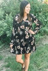 509 Broadway Long Sleeve V-Neck Floral Babydoll Dress