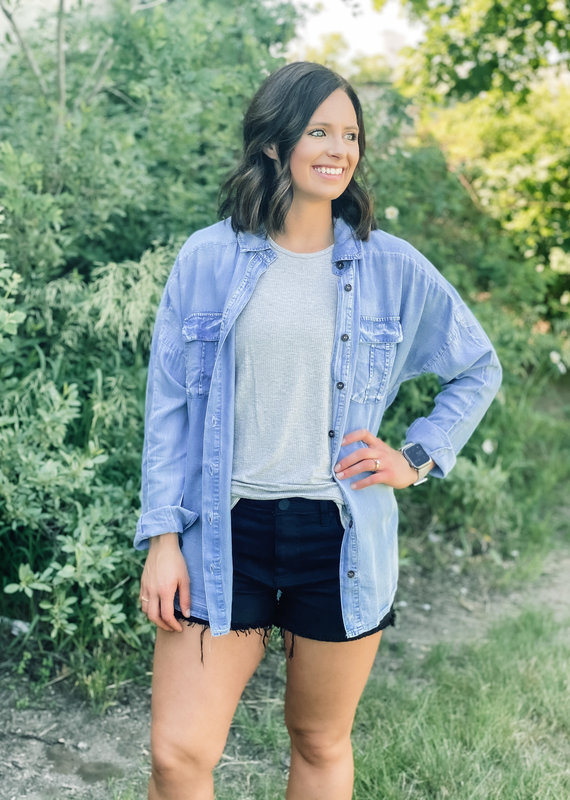 509 Broadway Long Sleeve Chambray Button Down Top