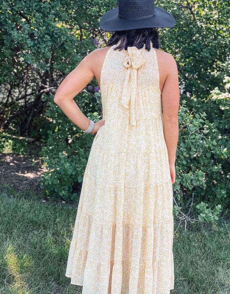 509 Broadway Floral Print Tiered Maxi Dress